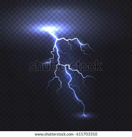 Lightning flash bolt or thunderbolt isolated on transparent background. Vector electric light thunder spark. Blue lightning or magic power blast storm template for your creative design
