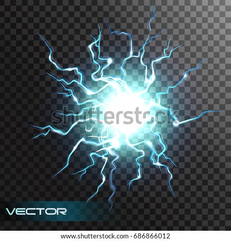 Lightning flash light thunder spark effect on transparent background. Vector ball of electricity, blast storm strike in sky or magic energy thunderbolt burst.