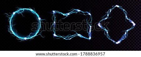 Lightning frames, electric blue thunderbolt borders, magic portals, energy strike. Powerful electrical discharge dazzle isolated on black and transparent background. Realistic 3d vector illustration Foto d'archivio ©