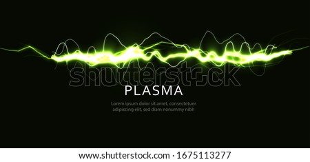 lightning green color, curve line on black background, graphic vibration for voice and music, magic ray of superhero, vector illustration