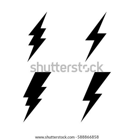 Lightning icon set. Vector