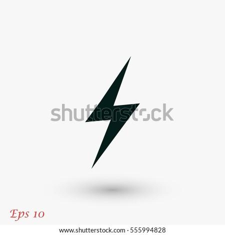 Lightning icon vector, flat design best vector icon