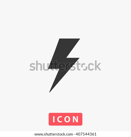 lightning Icon vector. Simple flat symbol. Perfect Black pictogram illustration on white background.
