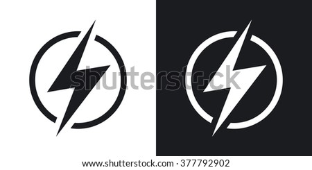Lightning icon, vector. Two-tone version on black and white background