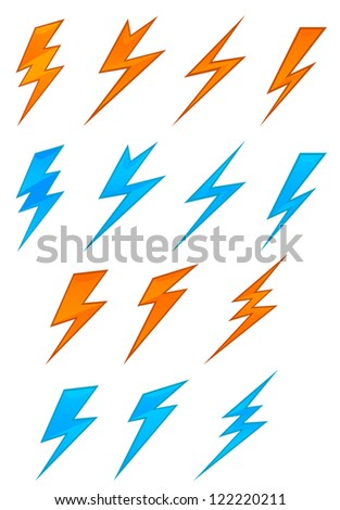 Lightning icons and symbols set on white background, such a template. Jpeg version also available in gallery