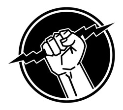 Lightning in the hand, abstract vector icon