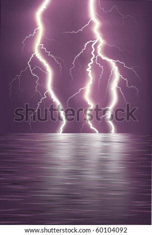 lightning over the sea horizon