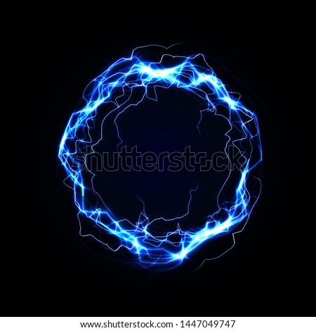 Lightning round frame. Blue plasma magical portal. Vector illustration.