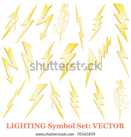 Lightning set isolated on white vector