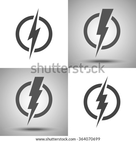 Lightning. Set of vector logos. Concept of energy and  electricity. Lightning bolt in the circle. Power and electric symbols collection. High speed, swiftness and rapid emblem.