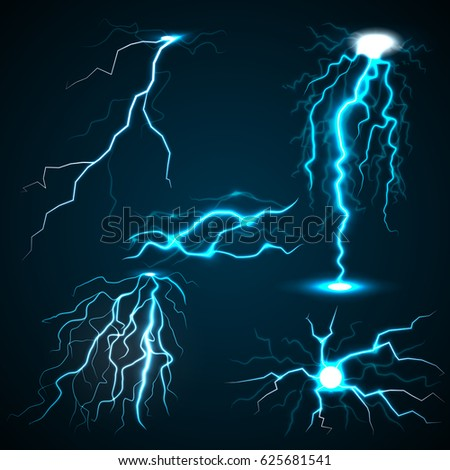 Lightning set. Realistic illustration of 5 lightnings for web