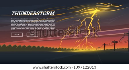 Lightning Strike and Rain. Thunderstorm day in the valley Background. thunder bolt, sparkle flash glow effect. Night cityscape. Realistic Urban landscape. Summer storm. natural disaster or cataclysm.