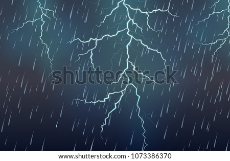 Lightning Strike and Rain Thunderstorm illustration