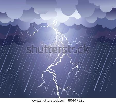 lightning strikevector rain