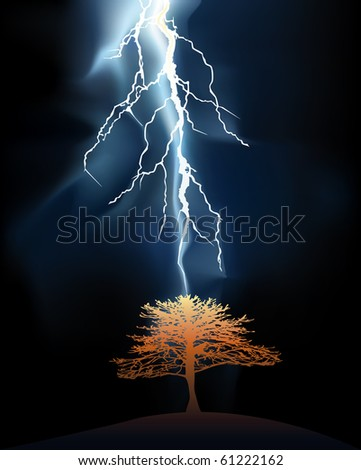 Lightning struck in a lonely tree