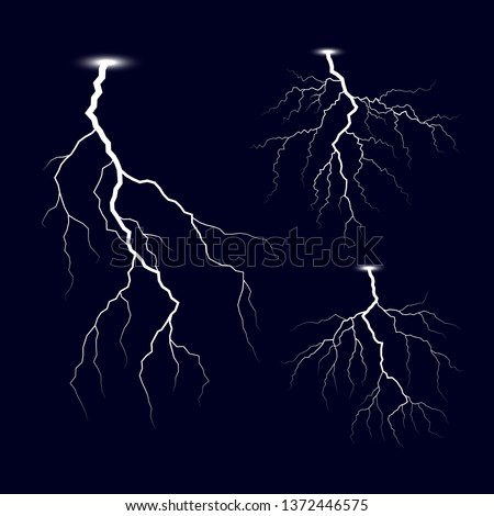 Lightning. Thunder storm lightnings set. Bright light effects. Vector Illustration isolated on dark background