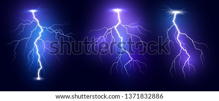 Lightning. Thunder storm realistic lightnings set. Magic and bright light effects. Vector Illustration isolated on dark background