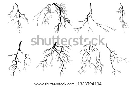 Lightning Thunder Storm Zapping Vector Silhouette Set Isolated on White Background