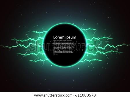 lightning vector round text