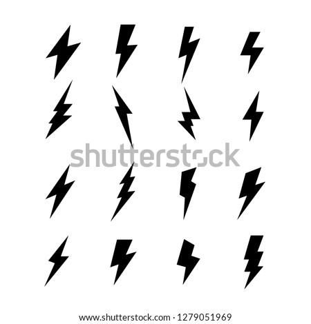 Lightning vector signs. Lightning bolt icons, thunder bolt symbols or flash pictograms. Flash icon. Streak of lightning sign. Electric bolt flash icon. Thunder strike logo. Charge icon. Thunderb