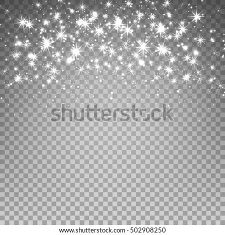 Lights and Sparkles on Transparent Background. Transparent Light Effects for Your Design. Vector Illustration.
