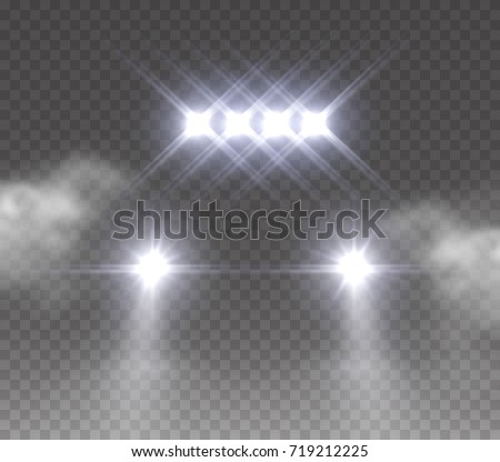 Lights led off road effect front view. Realistic white glow rally car headlights isolated on transparent background. Vector bright car light beams for race design.