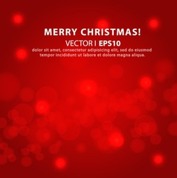 Lights on a red background bokeh effetst Christmas and New Year. Vector EPS 10 illustration.