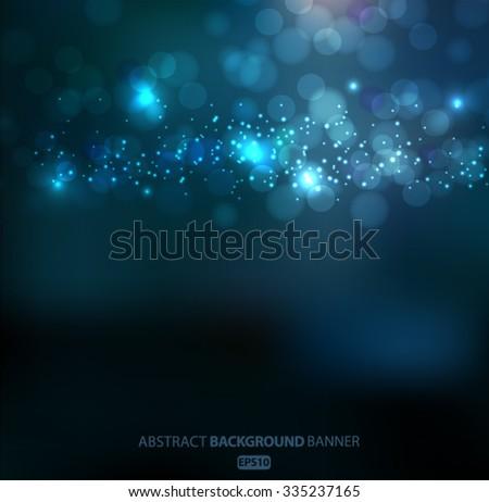 Lights on blue background bokeh effect.Vector EPS 10 illustration.