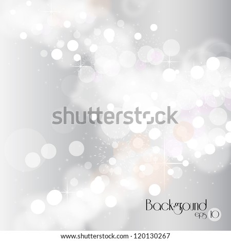 Lights on silver background - Vector illustration. Light silver abstract Christmas background with white snowflakes