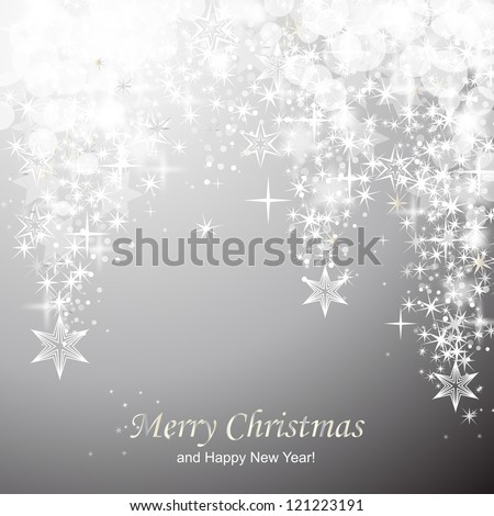 Lights on silver background - Vector illustration. Light silver abstract Christmas background with white stars