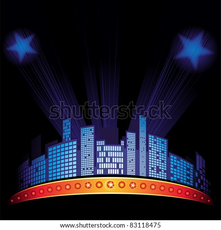 Lights with stars over city at night sky