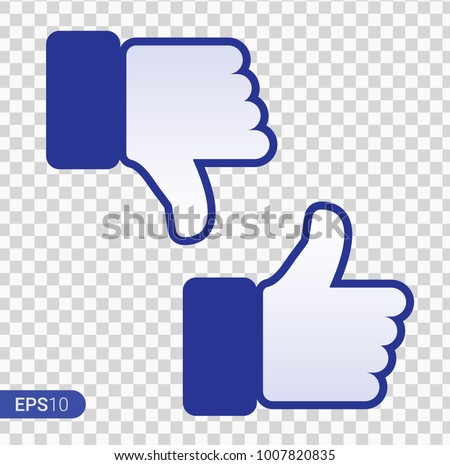 Like and Dislike Icon. Thumbs Up and Thumb Down, Hand or Finger Illustration on Transparent Background. Symbol of Positive and Negative, Good Bad Gesture. Rate Choice for Social Media, Apps and Web