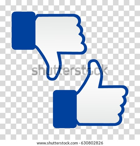Like and Dislike Icon. Thumbs Up and Thumb Down, Hand or Finger Illustration on Transparent Background. Symbol of Positive and Negative, Good/ Bad Gesture. Rate Choice for Social Media, Web and Apps.
