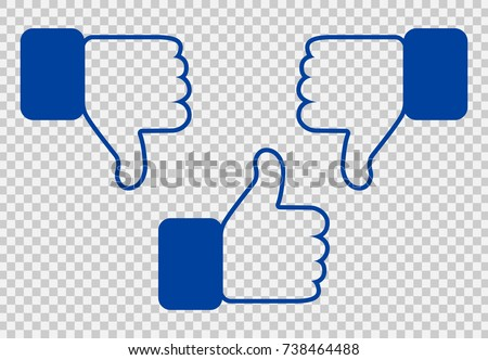 Like and Dislike Icon. Thumbs Up and Thumb Down, Hand or Finger Illustration on Transparent Background. Symbol of Positive and Negative. Rate Choice for Social Media, Web and Apps.