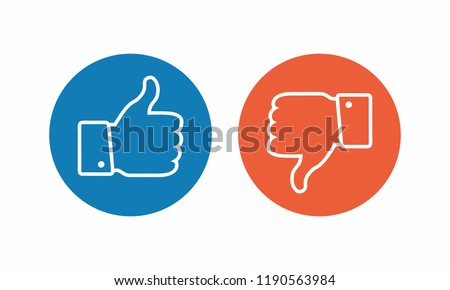 Like and dislike icon. Thumbs up and thumbs down.