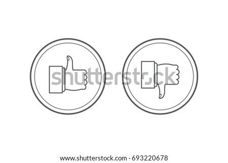 Like and dislike icons set. Thumbs up and thumbs down. Modern graphic elements for web banners, web sites, printed materials, infographics. Vector round thin line icons isolated on white background