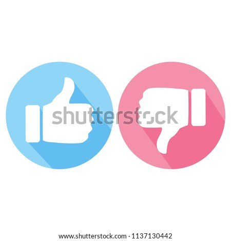 like and dislike thumb blue and pink button vector icon, modern icon with white background