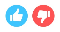 Like and Dislike vector flat Icons. Design Elements for smm, ad, marketing, ui, ux, app and more. Thumbs up and thumbs down circle emblems.