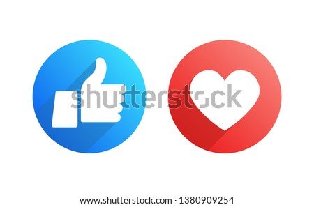 Like and Dislike Vector Flat Icons on White Background. Design Elements.