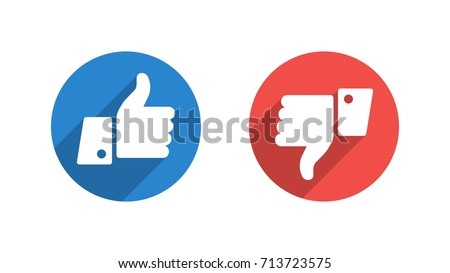 Like and Dislike Vector Flat Icons on White Background. Design Elements for SMM, CEO, APP, UI, UX, Marketing, Business, Advertisement, Digital Network
