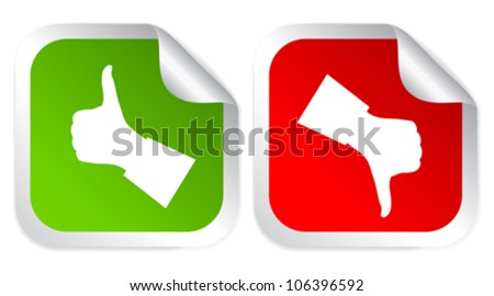 Like and dislike voting stickers, vector illustration