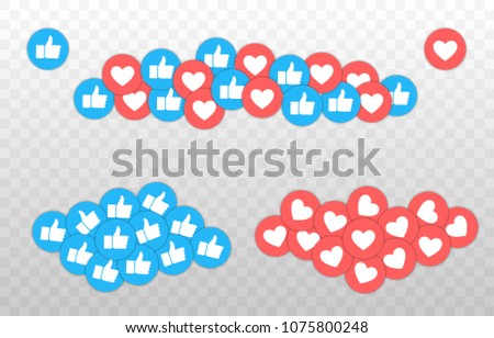 Like and Heart icon. Instagram and facebook. Live stream video, chat, likes. Social nets blue thumb up like and red heart web buttons isolated on white background. Vector illustaration