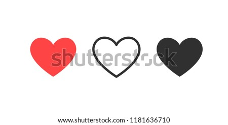 Like and Heart icon. Live stream video, chat, likes. Social nets like red heart web buttons isolated on white background. Valentines Day. Vector illustaration.