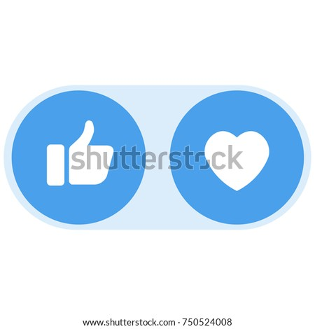 Like and heart icon set. Vector