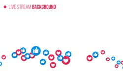 Like and heart icons for live stream video chat likes background vector design template. Social nets blue thumb up like and red heart web buttons isolated on white background