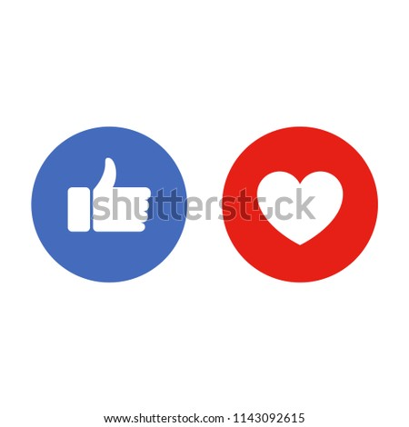 Like and heart icons. Thumbs up and love - social media buttons. Vector illustration.