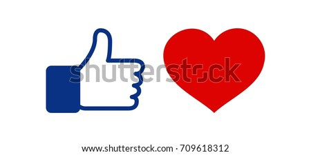 Like and Heart love icon