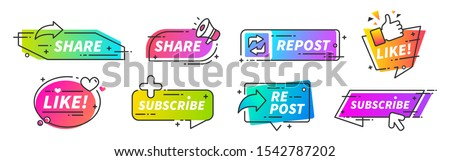 Like and share banner. Social media thumb up share and repost buttons for vlogs, blogs and video channel. Vector SMM marketing recommends style fillings icons for social fillings