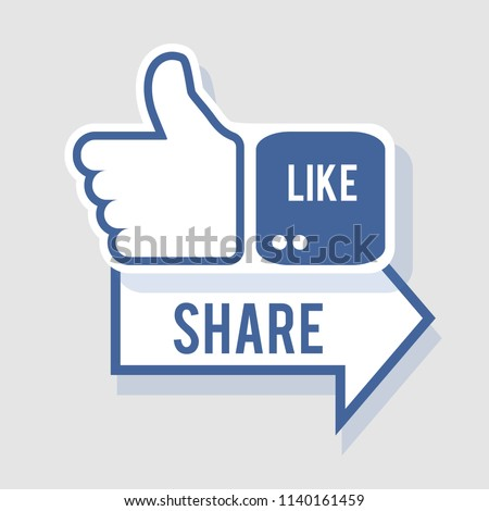 Like and share icon. Social symbol in flat style with shadow. Vector Illustration, eps 10