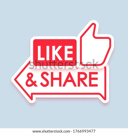 Like and share icon with shadow. Thumb up and arrow share. Marketing. Promotion. Blogging. Social media concept. Vector illustration. EPS 10 ストックフォト ©